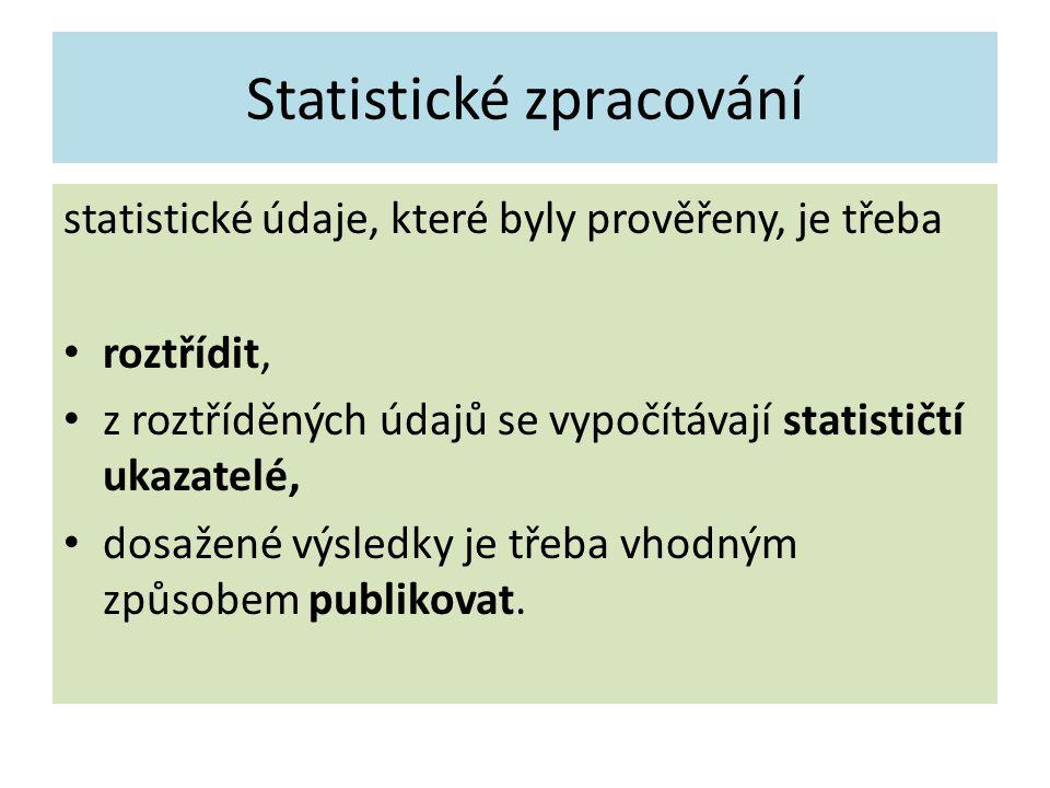 Statistické zpracování statistické údaje, které byly prověřeny, je třeba roztřídit, z roztříděných údajů se vypočítávají statističtí ukazatelé, dosažené výsledky je třeba vhodným způsobem publikovat.