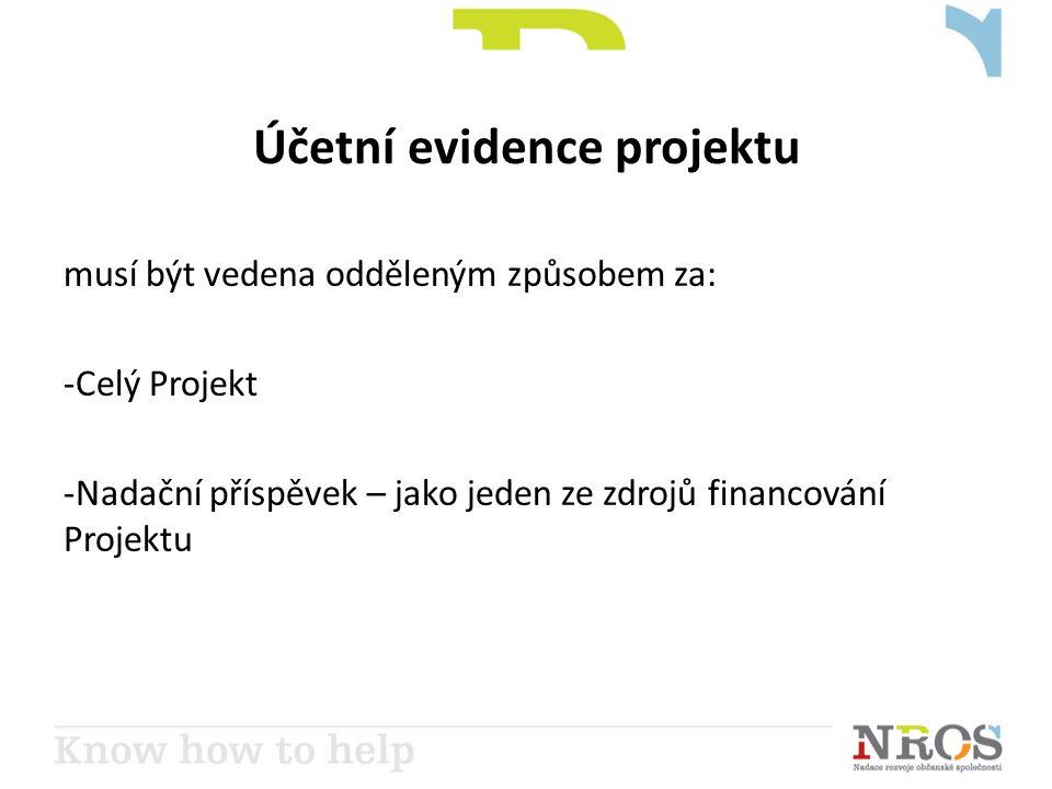 Účetní evidence projektu musí být vedena odděleným způsobem za: -Celý Projekt -Nadační příspěvek – jako jeden ze zdrojů financování Projektu