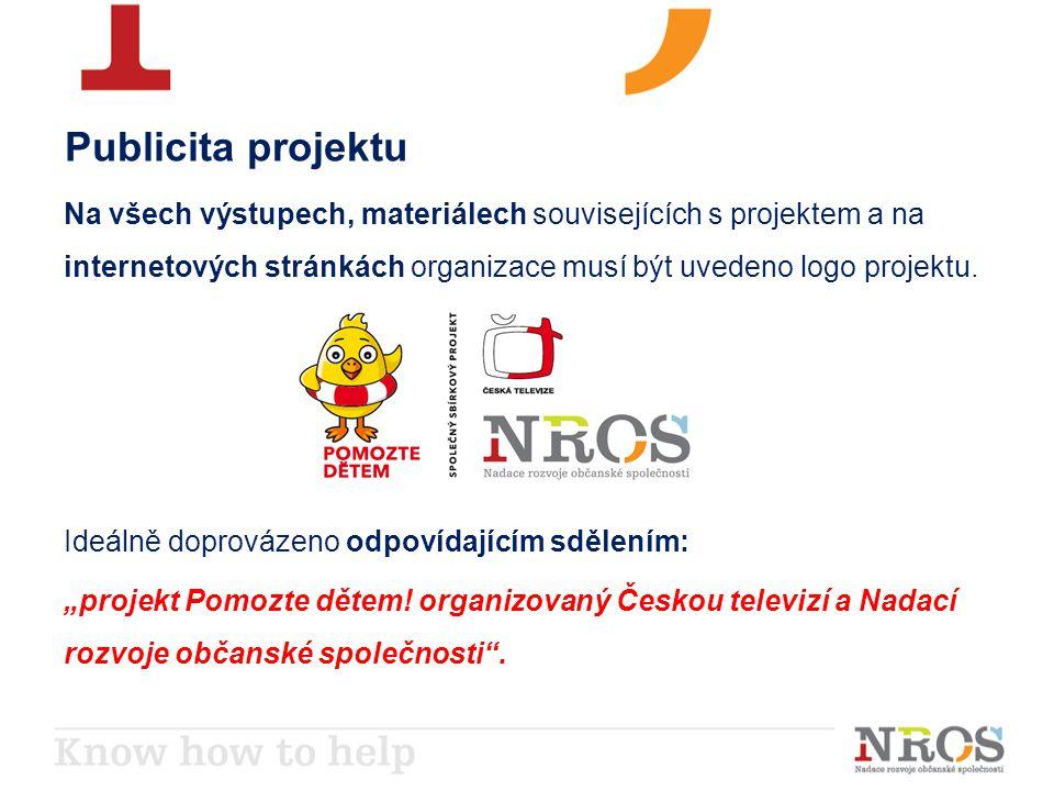 Publicita projektu Na všech výstupech, materiálech souvisejících s projektem a na internetových stránkách organizace musí být uvedeno logo projektu.