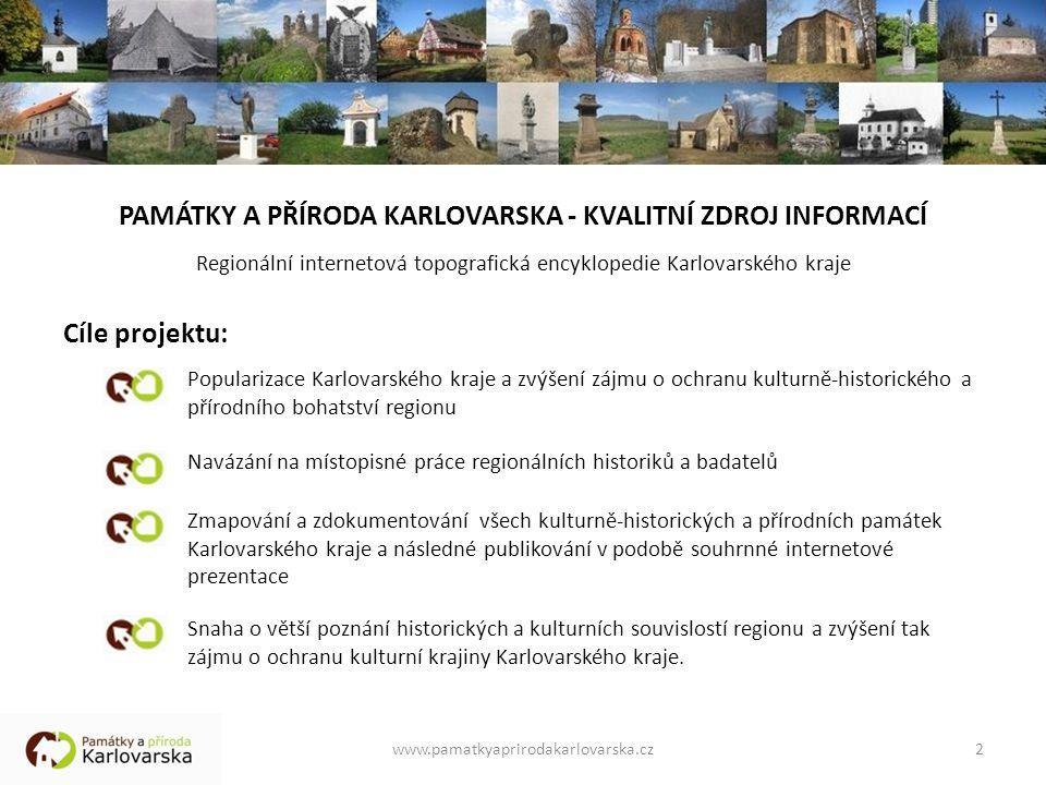 2 PAMÁTKY A PŘÍRODA KARLOVARSKA - KVALITNÍ ZDROJ INFORMACÍ Regionální internetová topografická encyklopedie Karlovarského kraje Cíle projektu: Popular