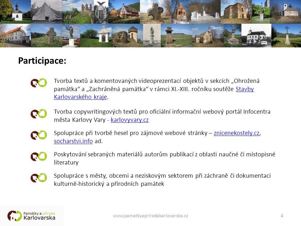 """Participace: Tvorba textů a komentovaných videoprezentací objektů v sekcích """"Ohrožená památka a """"Zachráněná památka v rámci XI.-XIII."""