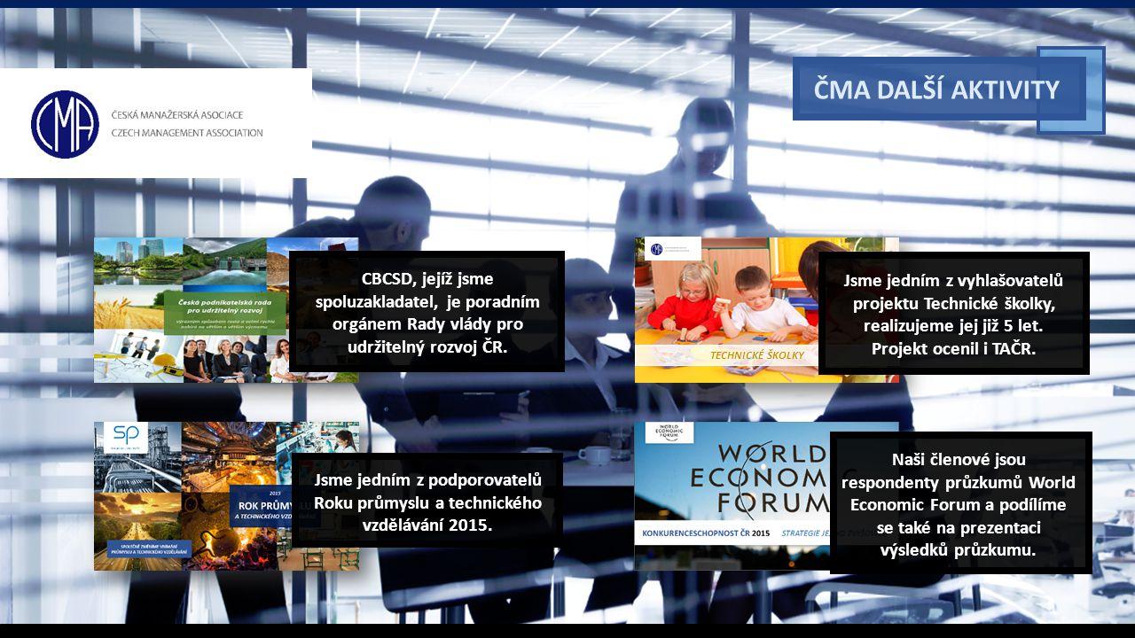 ČMA DALŠÍ AKTIVITY TECHNICKÉ ŠKOLKY CBCSD, jejíž jsme spoluzakladatel, je poradním orgánem Rady vlády pro udržitelný rozvoj ČR.
