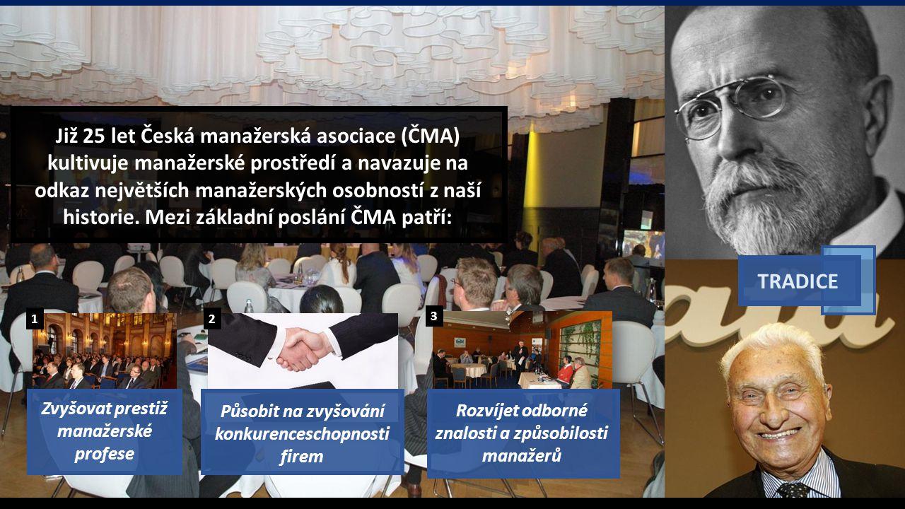 Již 25 let Česká manažerská asociace (ČMA) kultivuje manažerské prostředí a navazuje na odkaz největších manažerských osobností z naší historie.