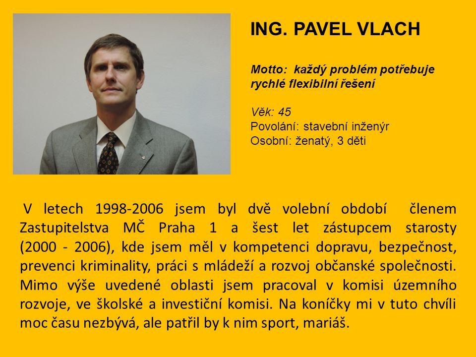 V letech 1998-2006 jsem byl dvě volební období členem Zastupitelstva MČ Praha 1 a šest let zástupcem starosty (2000 - 2006), kde jsem měl v kompetenci