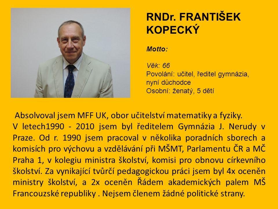 Absolvoval jsem MFF UK, obor učitelství matematiky a fyziky. V letech1990 - 2010 jsem byl ředitelem Gymnázia J. Nerudy v Praze. Od r. 1990 jsem pracov