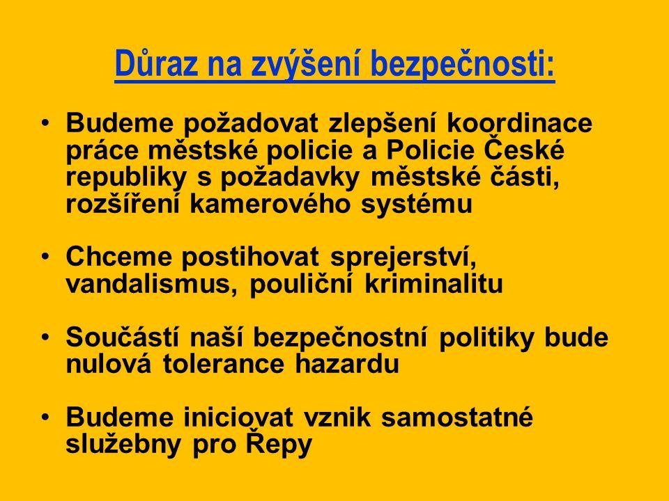Důraz na zvýšení bezpečnosti: Budeme požadovat zlepšení koordinace práce městské policie a Policie České republiky s požadavky městské části, rozšířen