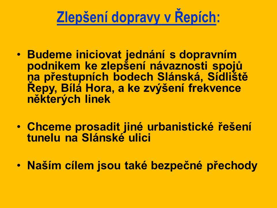 Zlepšení dopravy v Řepích: Budeme iniciovat jednání s dopravním podnikem ke zlepšení návaznosti spojů na přestupních bodech Slánská, Sídliště Řepy, Bí