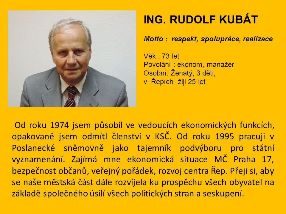 Od roku 1974 jsem působil ve vedoucích ekonomických funkcích, opakovaně jsem odmítl členství v KSČ. Od roku 1995 pracuji v Poslanecké sněmovně jako ta