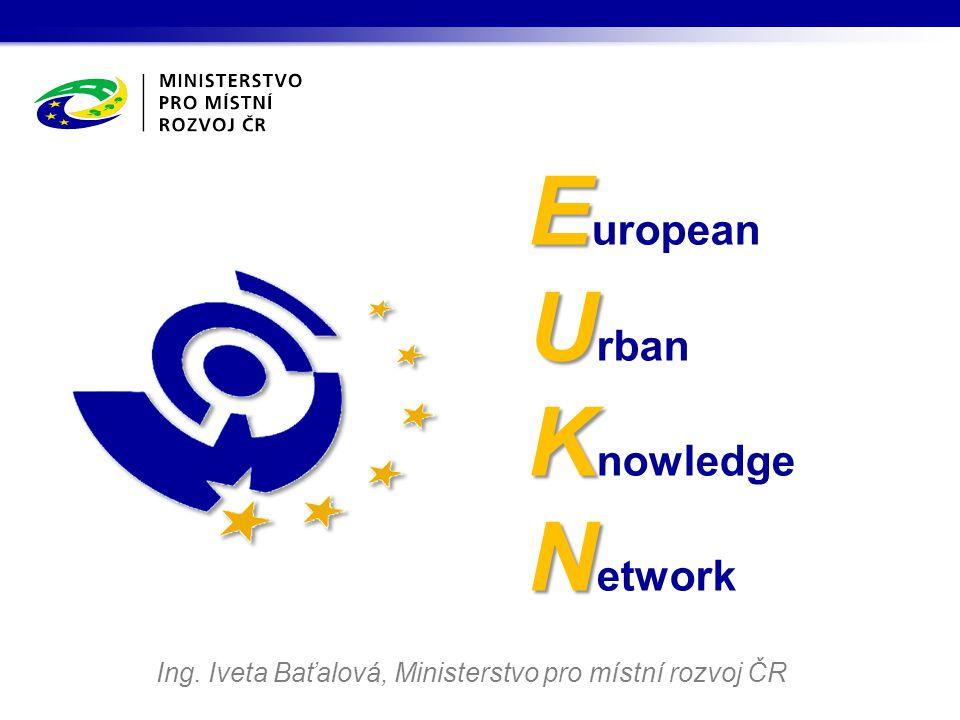 European Urban Knowledge Network EUKN je udržitelnou, mezivládní znalostní sítí s národními kontaktními místy ve všech členských státech, působící jako centrum znalostí pro stávající sítě odborníků na urbánní záležitosti na všech úrovních správy.