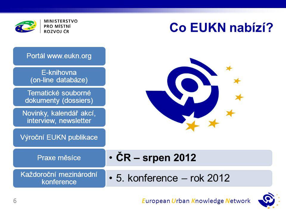 European Urban Knowledge Network7 Aktuální témata, které řešíte Know-how ostatních Informace Inspirace pro vlastní práci Inspirace Výzkumné projekty, politiky, best - practices Porovnání Vlastních zkušeností Sdílení Svých výsledků Projektů Prezentace Participace na projektech Kontakty v zahraničí Spolupráce Co mi to přinese?