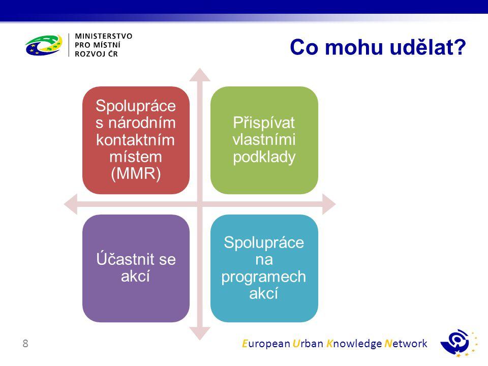 European Urban Knowledge Network8 Spolupráce s národním kontaktním místem (MMR) Přispívat vlastními podklady Účastnit se akcí Spolupráce na programech