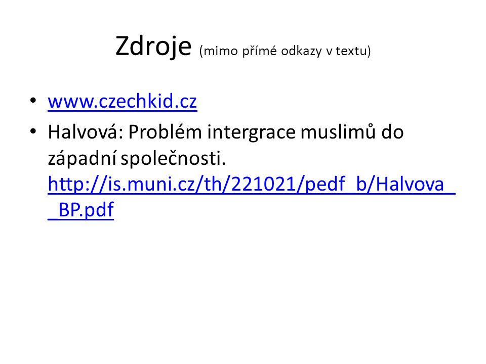 Zdroje (mimo přímé odkazy v textu ) www.czechkid.cz Halvová: Problém intergrace muslimů do západní společnosti. http://is.muni.cz/th/221021/pedf_b/Hal