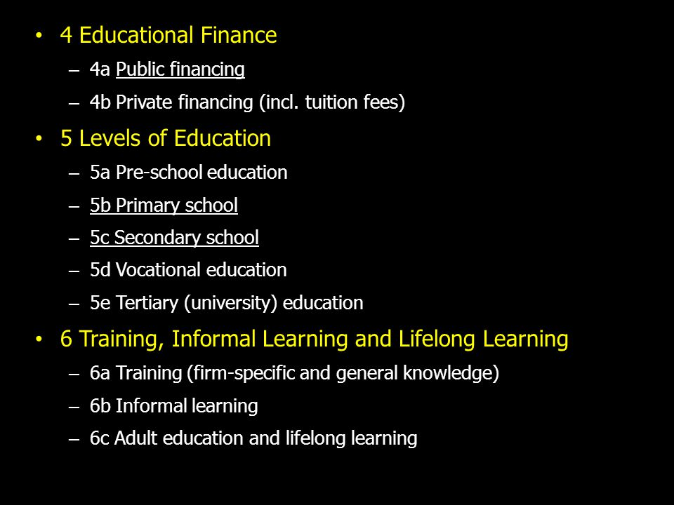 4 Educational Finance – 4a Public financing – 4b Private financing (incl.