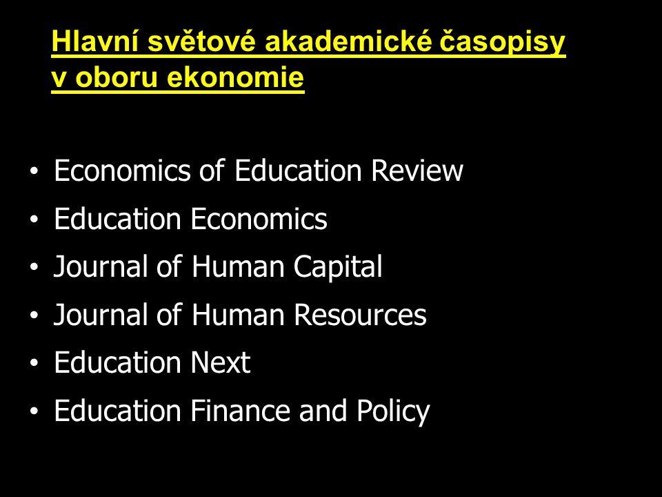 Economics of Education Review Education Economics Journal of Human Capital Journal of Human Resources Education Next Education Finance and Policy Hlavní světové akademické časopisy v oboru ekonomie