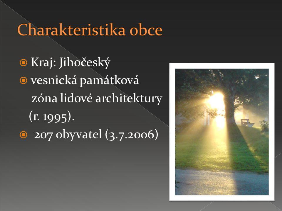  Kraj: Jihočeský  vesnická památková zóna lidové architektury (r.