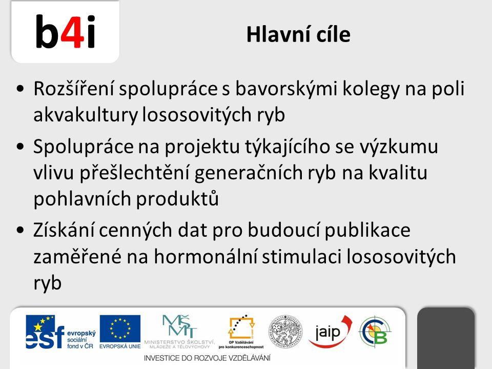 b4ib4i Hlavní cíle Rozšíření spolupráce s bavorskými kolegy na poli akvakultury lososovitých ryb Spolupráce na projektu týkajícího se výzkumu vlivu př