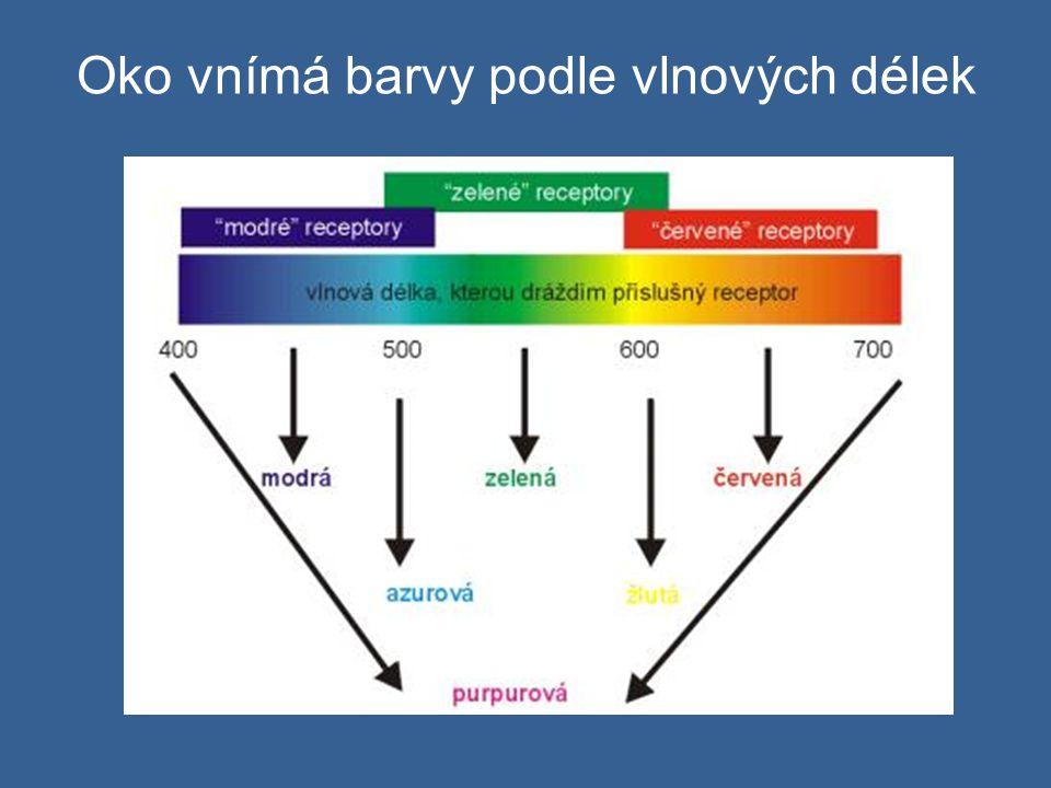 Oko vnímá barvy podle vlnových délek