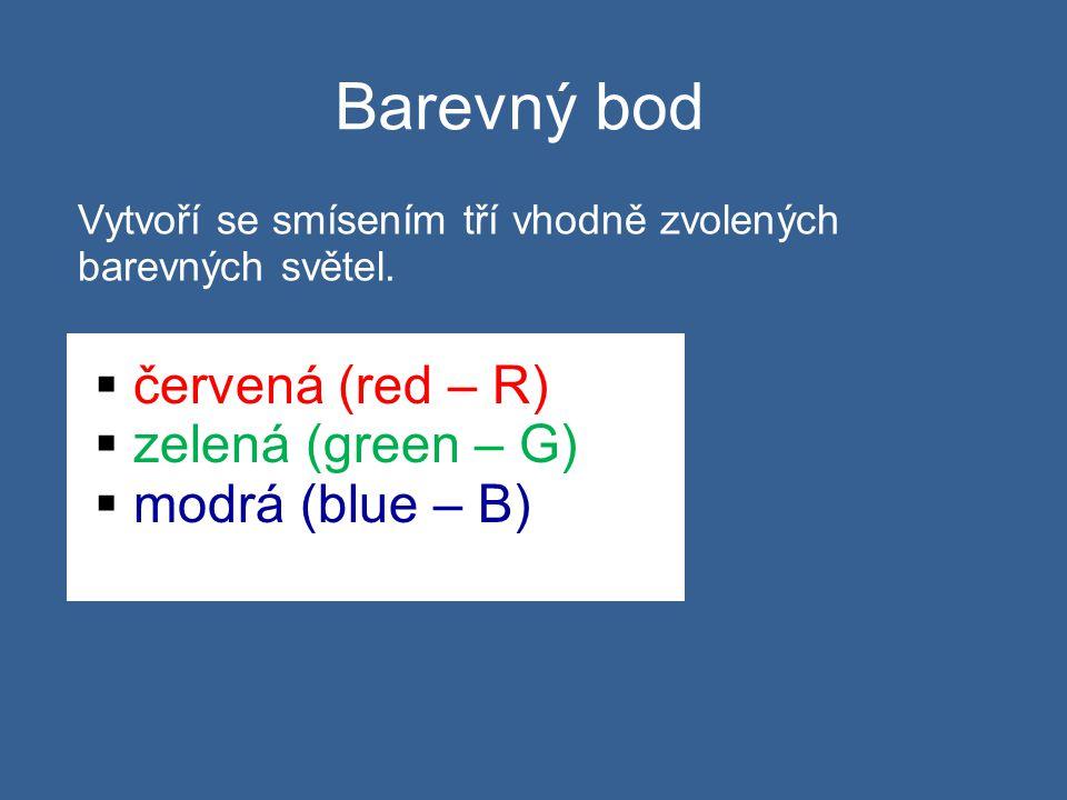 Barevný bod Vytvoří se smísením tří vhodně zvolených barevných světel.