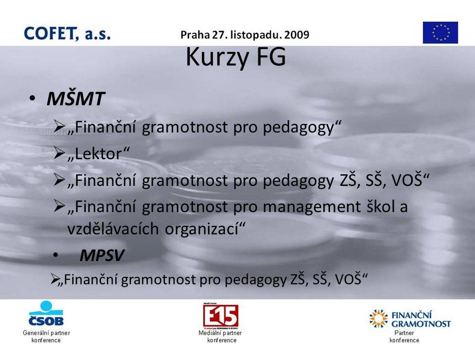 """Kurzy FG MŠMT  """"Finanční gramotnost pro pedagogy  """"Lektor  """"Finanční gramotnost pro pedagogy ZŠ, SŠ, VOŠ  """"Finanční gramotnost pro management škol a vzdělávacích organizací MPSV  """"Finanční gramotnost pro pedagogy ZŠ, SŠ, VOŠ"""