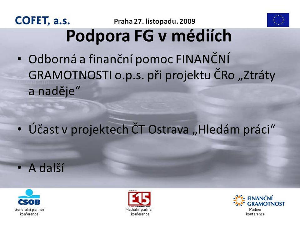 Podpora FG v médiích Odborná a finanční pomoc FINANČNÍ GRAMOTNOSTI o.p.s.