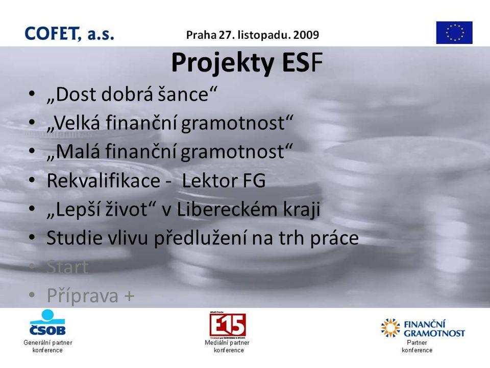 """Projekty ESF """"Dost dobrá šance """"Velká finanční gramotnost """"Malá finanční gramotnost Rekvalifikace - Lektor FG """"Lepší život v Libereckém kraji Studie vlivu předlužení na trh práce Start Příprava +"""