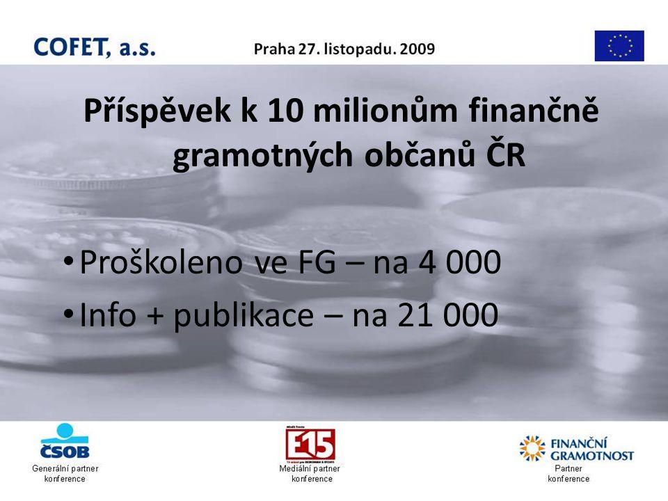 Příspěvek k 10 milionům finančně gramotných občanů ČR Proškoleno ve FG – na 4 000 Info + publikace – na 21 000