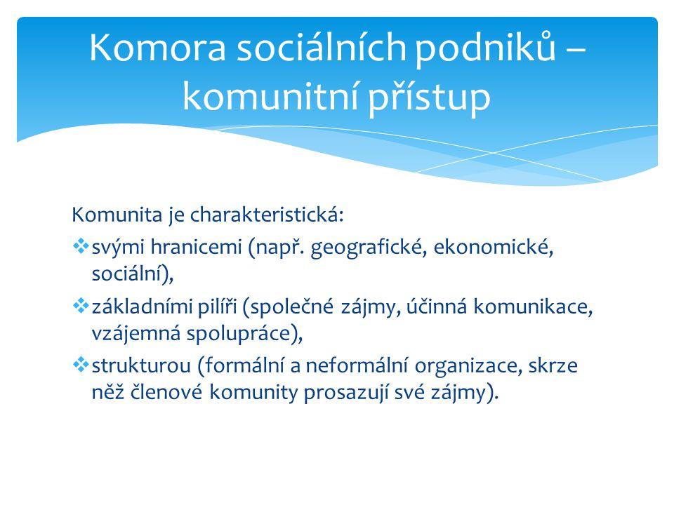 Komunita je charakteristická:  svými hranicemi (např. geografické, ekonomické, sociální),  základními pilíři (společné zájmy, účinná komunikace, vzá