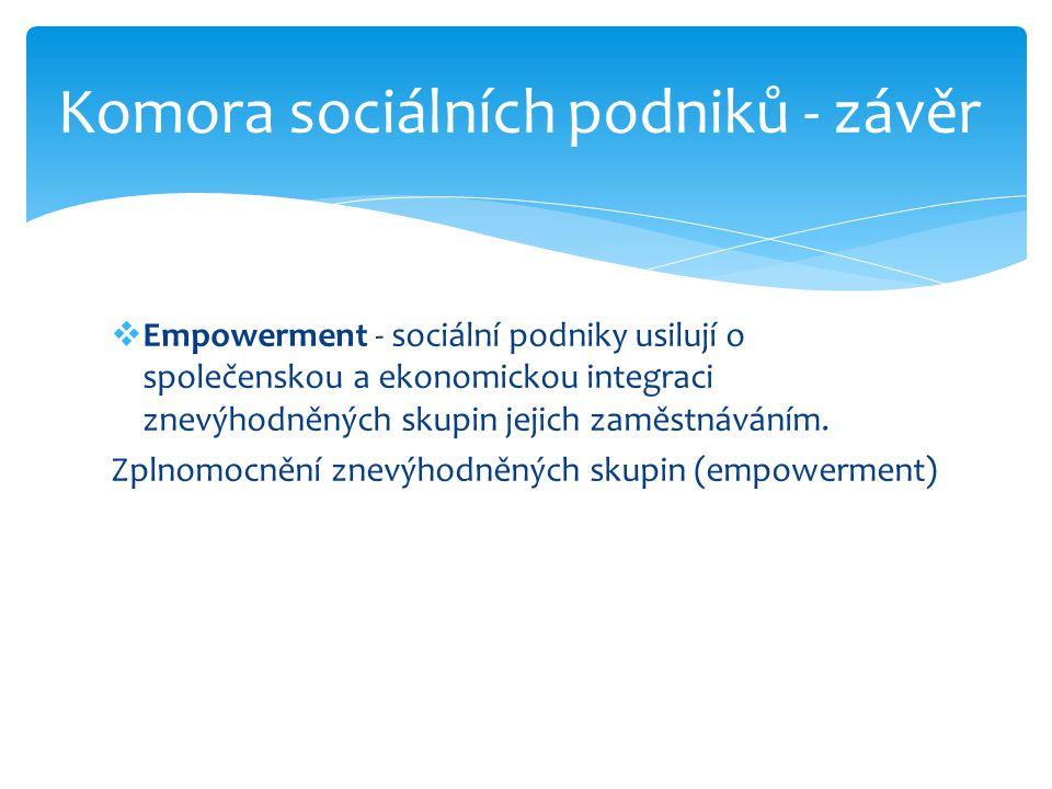  Empowerment - sociální podniky usilují o společenskou a ekonomickou integraci znevýhodněných skupin jejich zaměstnáváním. Zplnomocnění znevýhodněnýc