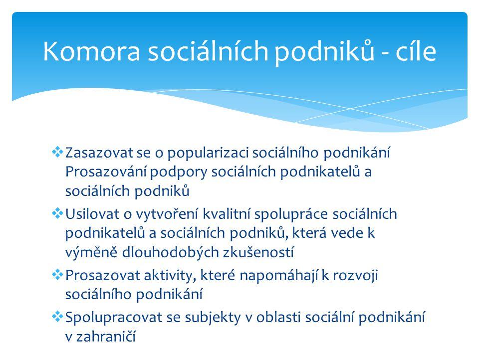  Zasazovat se o popularizaci sociálního podnikání Prosazování podpory sociálních podnikatelů a sociálních podniků  Usilovat o vytvoření kvalitní spo