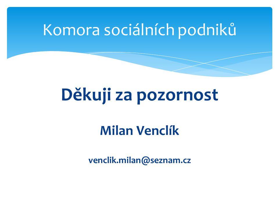 Děkuji za pozornost Milan Venclík venclik.milan@seznam.cz Komora sociálních podniků
