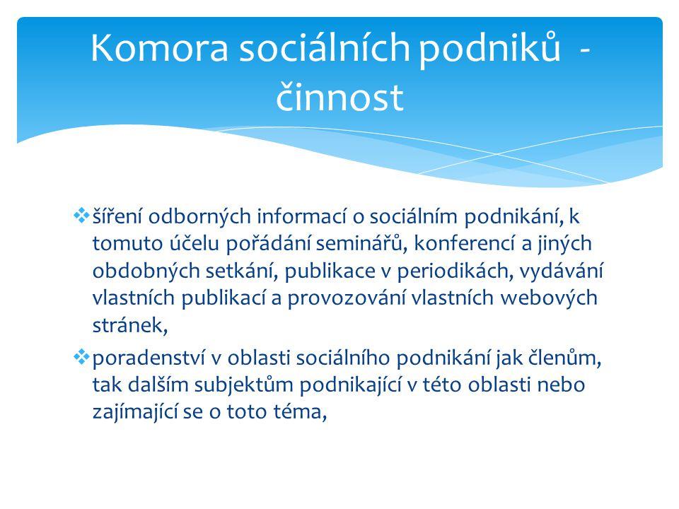 šíření odborných informací o sociálním podnikání, k tomuto účelu pořádání seminářů, konferencí a jiných obdobných setkání, publikace v periodikách,