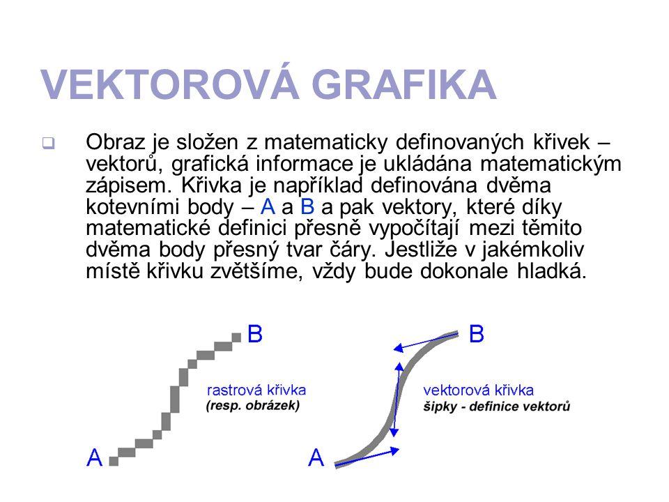 VEKTOROVÁ GRAFIKA OObraz je složen z matematicky definovaných křivek – vektorů, grafická informace je ukládána matematickým zápisem. Křivka je napří