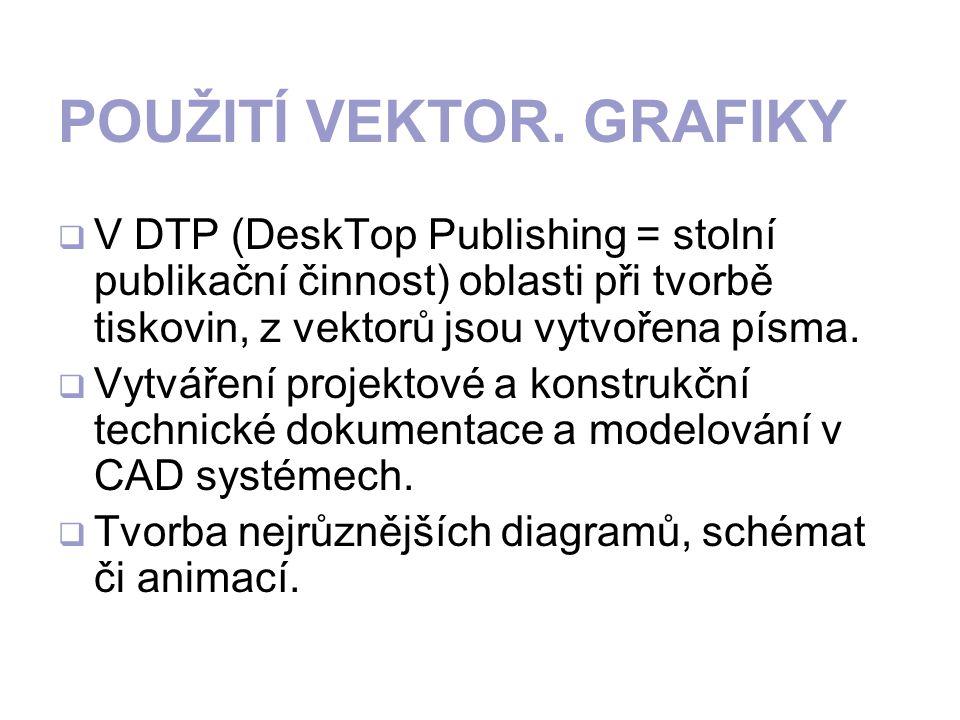 POUŽITÍ VEKTOR. GRAFIKY VV DTP (DeskTop Publishing = stolní publikační činnost) oblasti při tvorbě tiskovin, z vektorů jsou vytvořena písma. VVytv