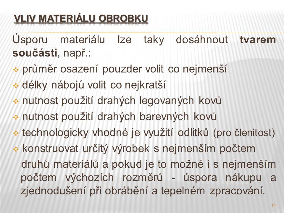 11 Úsporu materiálu lze taky dosáhnout tvarem součásti, např.:  průměr osazení pouzder volit co nejmenší  délky nábojů volit co nejkratší  nutnost