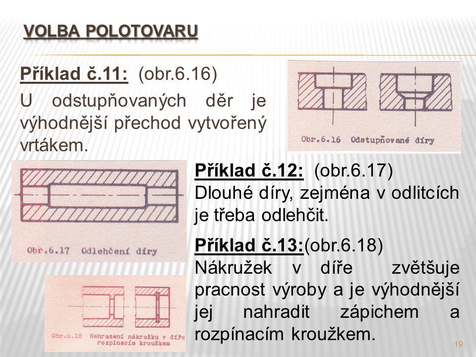 19 Příklad č.11: (obr.6.16) U odstupňovaných děr je výhodnější přechod vytvořený vrtákem. Příklad č.12: (obr.6.17) Dlouhé díry, zejména v odlitcích je