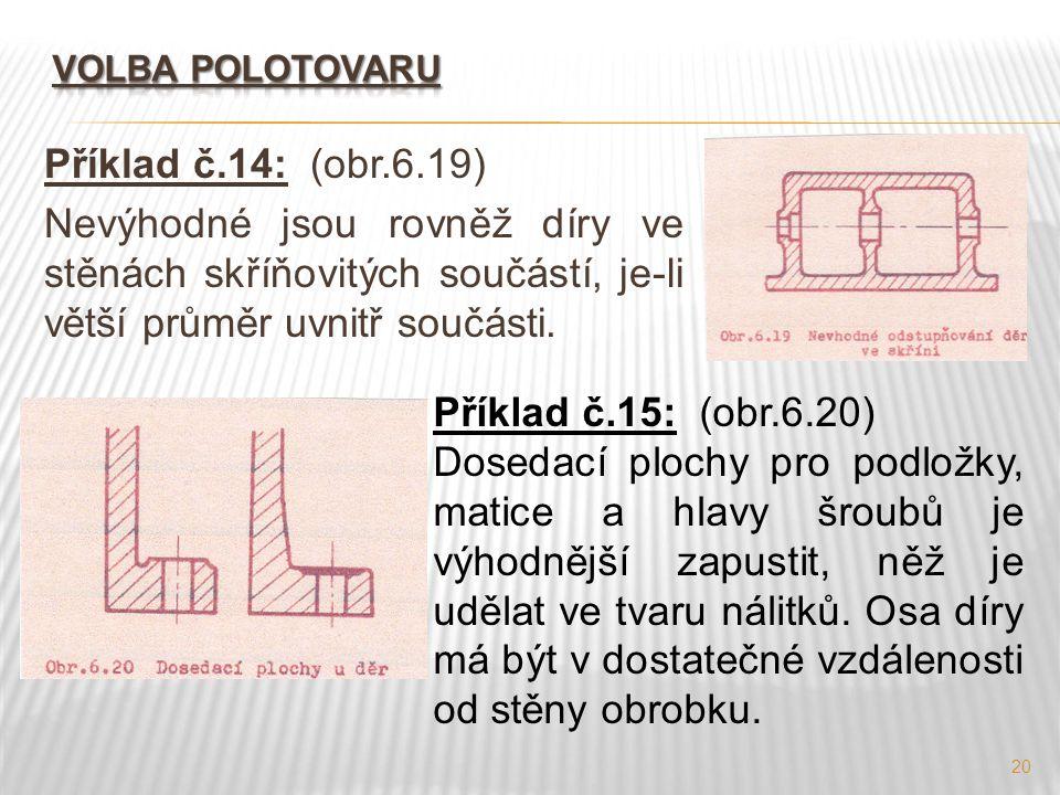 20 Příklad č.14: (obr.6.19) Nevýhodné jsou rovněž díry ve stěnách skříňovitých součástí, je-li větší průměr uvnitř součásti. Příklad č.15: (obr.6.20)