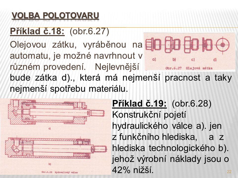 22 Příklad č.18: (obr.6.27) Olejovou zátku, vyráběnou na automatu, je možné navrhnout v různém provedení. Nejlevnější Příklad č.19: (obr.6.28) Konstru