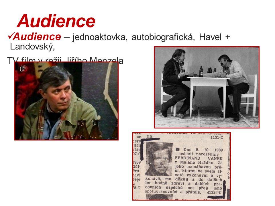Audience Audience – jednoaktovka, autobiografická, Havel + Landovský, TV film v režii Jiřího Menzela