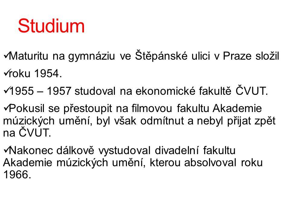Studium Maturitu na gymnáziu ve Štěpánské ulici v Praze složil roku 1954. 1955 – 1957 studoval na ekonomické fakultě ČVUT. Pokusil se přestoupit na fi