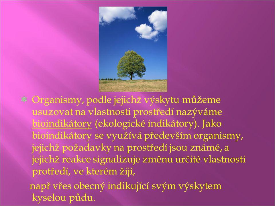 Organismy, podle jejichž výskytu můžeme usuzovat na vlastnosti prostředí nazýváme bioindikátory (ekologické indikátory). Jako bioindikátory se využí