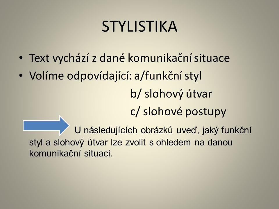 STYLISTIKA Text vychází z dané komunikační situace Volíme odpovídající: a/funkční styl b/ slohový útvar c/ slohové postupy U následujících obrázků uveď, jaký funkční styl a slohový útvar lze zvolit s ohledem na danou komunikační situaci.