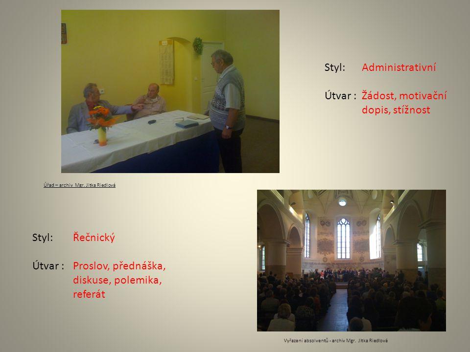 Administrativní Žádost, motivační dopis, stížnost Řečnický Proslov, přednáška, diskuse, polemika, referát Úřad – archiv Mgr. Jitka Riedlová Vyřazení a