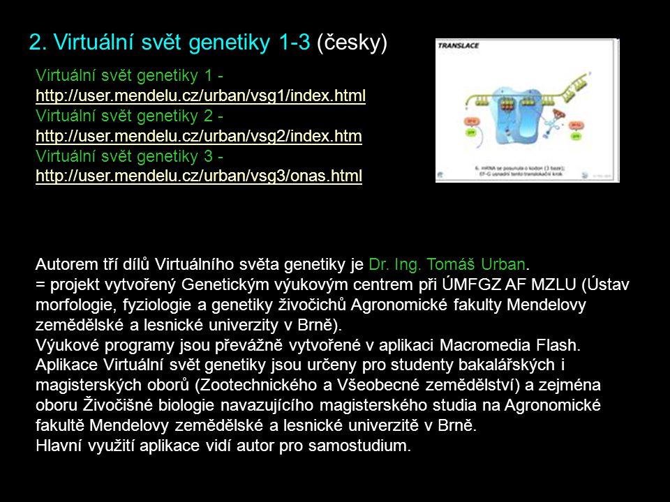 2. Virtuální svět genetiky 1-3 (česky) Virtuální svět genetiky 1 - http://user.mendelu.cz/urban/vsg1/index.html Virtuální svět genetiky 2 - http://use