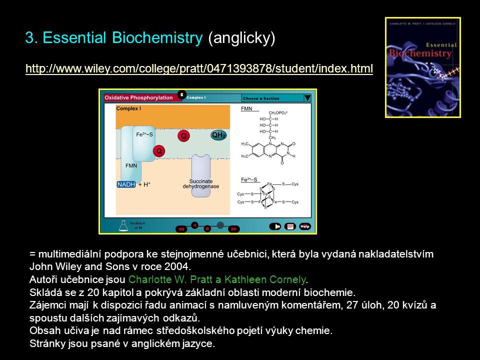 3. Essential Biochemistry (anglicky) = multimediální podpora ke stejnojmenné učebnici, která byla vydaná nakladatelstvím John Wiley and Sons v roce 20