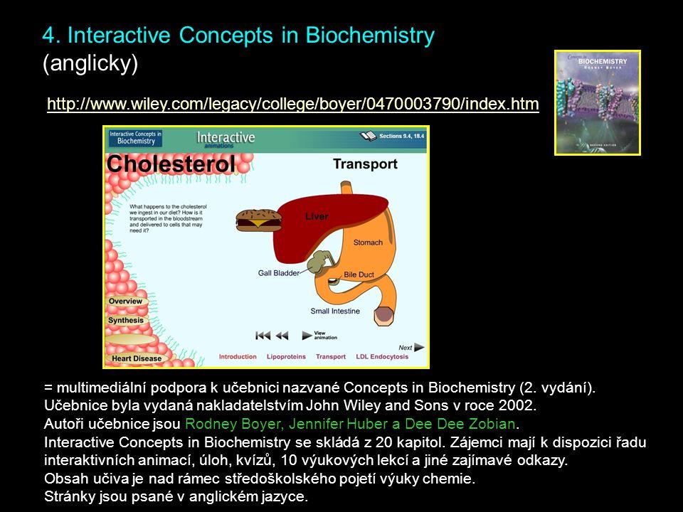4. Interactive Concepts in Biochemistry (anglicky) = multimediální podpora k učebnici nazvané Concepts in Biochemistry (2. vydání). Učebnice byla vyda
