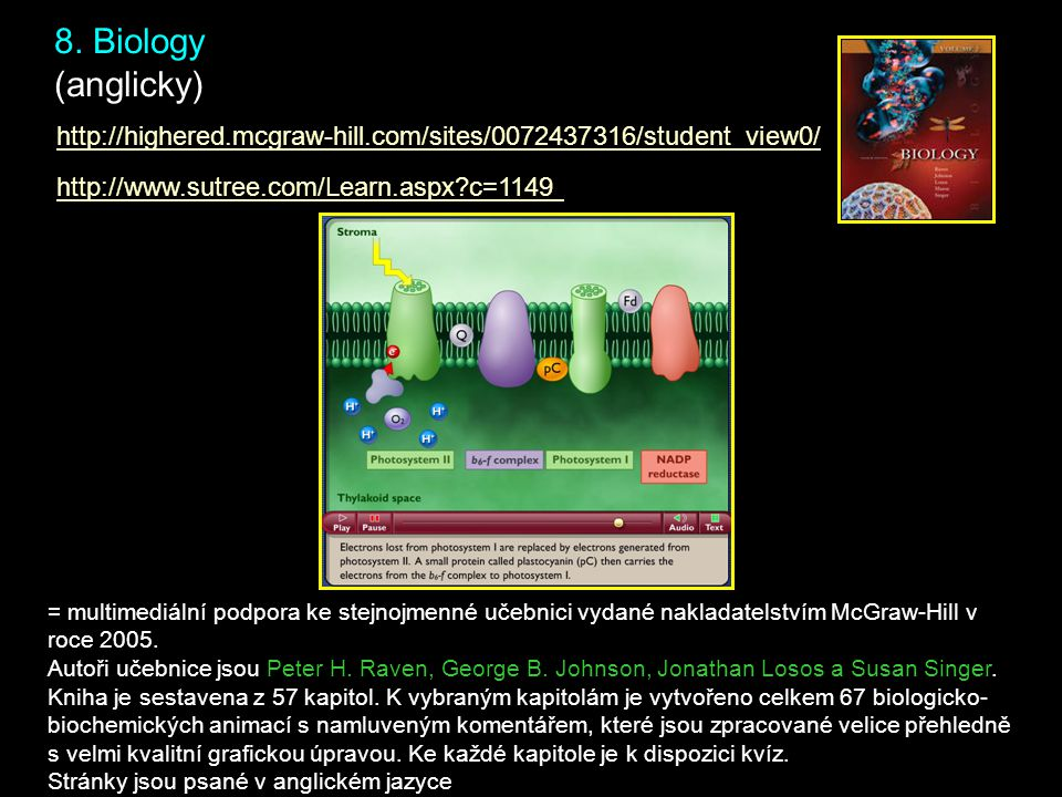 8. Biology (anglicky) http://www.sutree.com/Learn.aspx?c=1149 http://highered.mcgraw-hill.com/sites/0072437316/student_view0/ = multimediální podpora