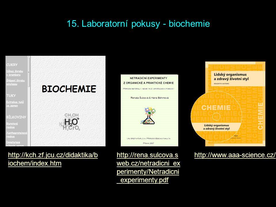 http://kch.zf.jcu.cz/didaktika/b iochem/index.htm http://rena.sulcova.s web.cz/netradicni_ex perimenty/Netradicni _experimenty.pdf 15. Laboratorní pok