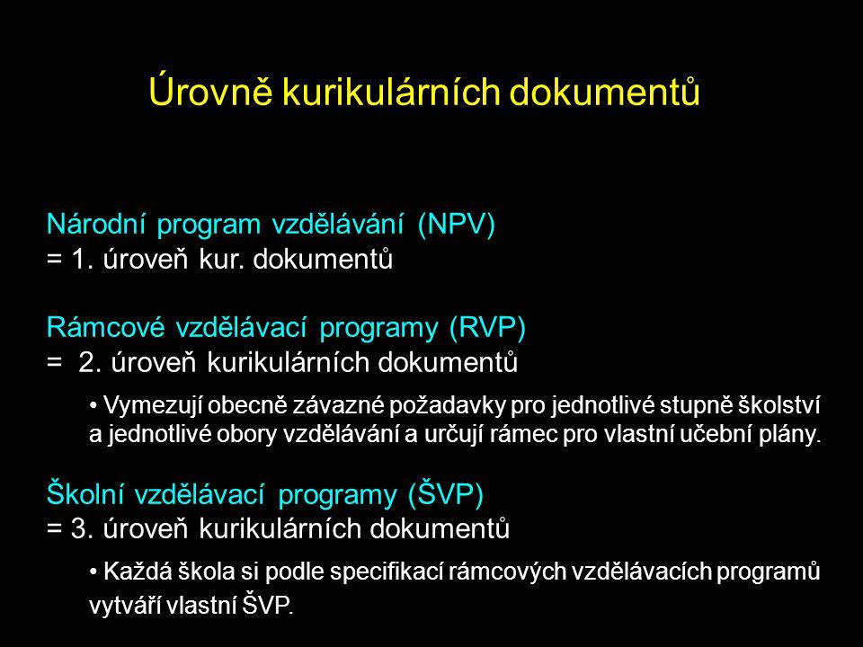 Úrovně kurikulárních dokumentů Národní program vzdělávání (NPV) = 1. úroveň kur. dokumentů Rámcové vzdělávací programy (RVP) = 2. úroveň kurikulárních