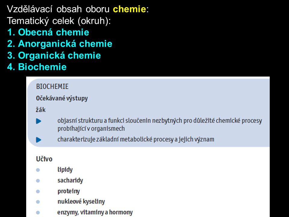 Vzdělávací obsah oboru chemie: Tematický celek (okruh): 1.Obecná chemie 2.Anorganická chemie 3.Organická chemie 4.Biochemie