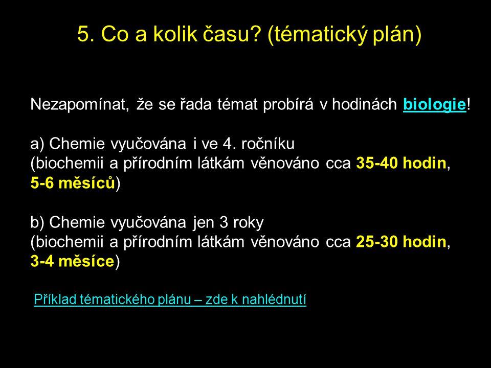 5. Co a kolik času? (tématický plán) Nezapomínat, že se řada témat probírá v hodinách biologie! a) Chemie vyučována i ve 4. ročníku (biochemii a příro